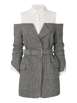 Ericdress Lapel Double-Layer Hollow Coat