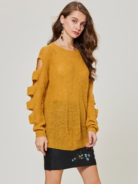 Ericdress Round Neck Hollow Plain Women's Sweater