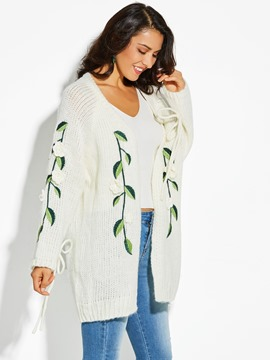 Ericdress V-Neck Appliques Plant Flocking Cardigan Sweater
