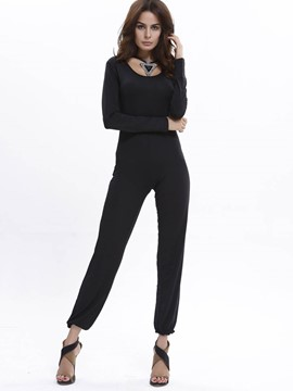 Ericdress Backless Slim Women's Plain Jumpsuit