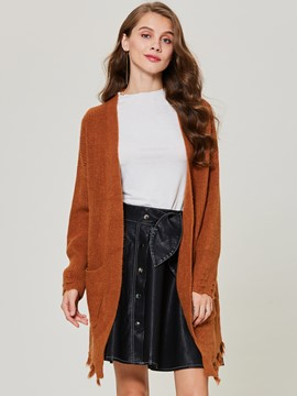 Ericdress Loose Mid-Length Plain Cardigan Sweater