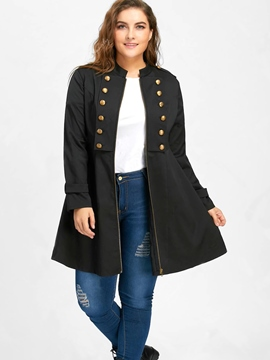 Ericdress Plus-Size Stand Collar Mid-Length Trench Coat
