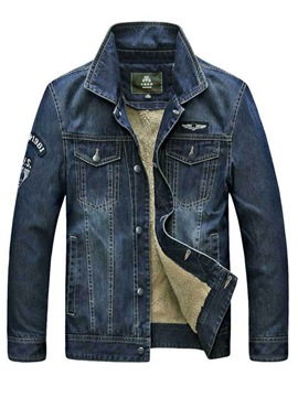 Erocdress Plain Lapel Thicken Men's Denim Jacket