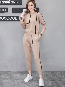 Ericdress Contrast Color Stripe Pullover and Pants Women's Sport Suit