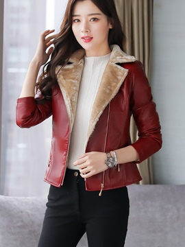 Ericdress Notched Lapel Zipper Short PU Jacket