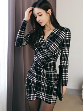 Ericdress Pleated V-Neck Above Knee Plaid Bodycon Dress