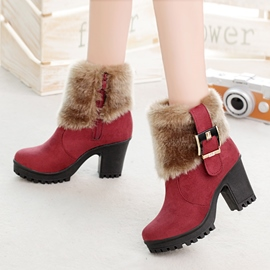 Ericdress Fuzzy Buckle Platform Chunky Heel Ankle Boots
