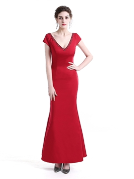 Ericdress Sheath Cap Sleeve Beaded V Neck Evening Dress