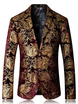 Ericdress Notched Lapel Floral Slim Men's Blazer