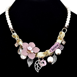 Ericdress Elegant All Match Leaf Flower Charm Necklace