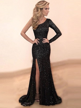 Ericdress One Sleeve Sequin Mermaid Evening Dress With Slit
