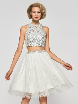 Ericdress Two Pieces Lace Crystal Knee-Length Cocktail Dress