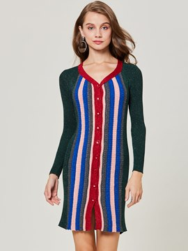 Ericdress V-Neck Color Block Single-Breasted Cardigan Knitwear