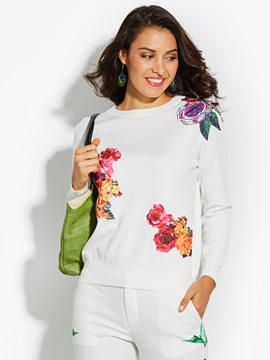Ericdress Loose Floral Applique Knitwear