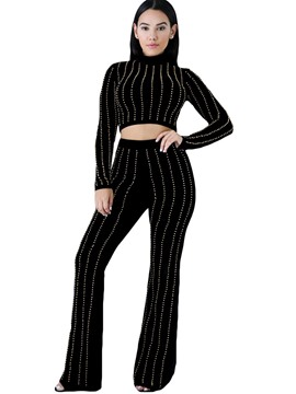 Ericdress Stripe Pullover and Bellbottoms Women's Suit