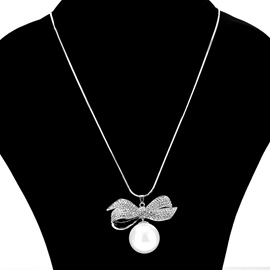 Ericdress Imitation Pearl Diamante Bowtie Women's Sweater Necklace