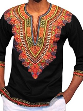Ericdress Ethnic Style African Print V-Neck Slim Men's Shirt