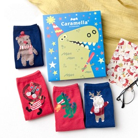 Cartoon Animals Christmas Gift Ankle Socks for Adult 4 Packs