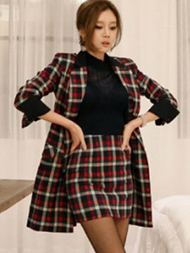 Ericdress Plaid Trench Coat and Bodycon Skirt Women's Suit