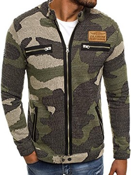 Ericdress Camouflage Stand Collar Zip Slim Men's Jacket