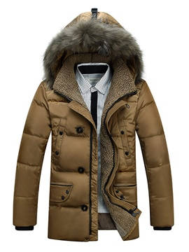 Ericdress Plain Faux Fur Collar Casual Slim Men's Winter Coat