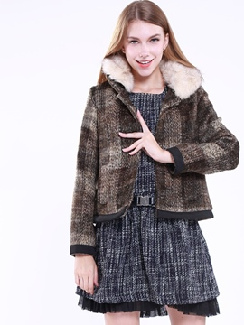 Ericdress Short Plaid Thick Coat