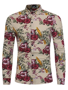 Ericdress Floral Print Long Sleeve Vogue Slim Men's Shirt