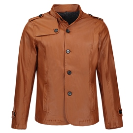 Ericdress Stand Collar PU Leather Thicken Slim Men's Jacket