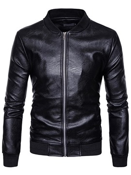 Ericdress Plain Stand Collar Zip PU Leather Slim Men's Jacket