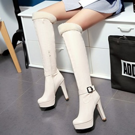Ericdress Popular Buckle Platform Plain Women's Knee High Boots