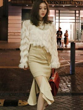 Ericdress Faux Fur Sweater and Asymmetric Skirt Women's Suit
