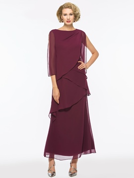 Ericdress Bateau Chiffon A Line Ankle Length Mother of The Bride Dress