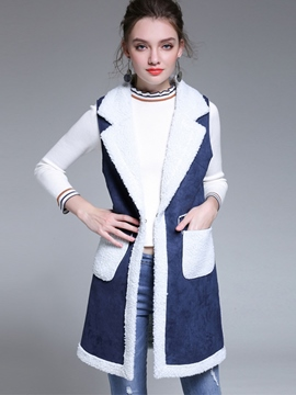 Ericdress Slim Patchwork Mid-Length Thick Vest