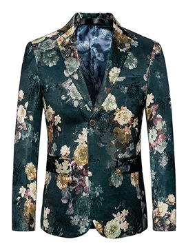 Ericdress Floral Notched Lapel Two Button Vogue Slim Men's Blazer