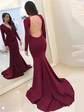 Ericdress Long Sleeve V Neck Mermaid Backless Evening Dress
