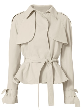Ericdress Plain Ruffle Belt Epaulet Jacket