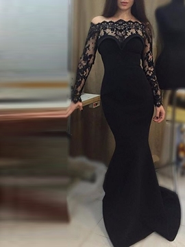 Ericdress Long Sleeves Lace Black Mermaid Evening Dress