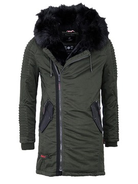 Ericdress Faux Fur Collar Zipper Mid-Length Men's Winter Coat
