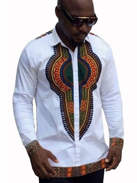 Ericdress Lapel African Print Single-Breasted Unique Slim Men's Shirt