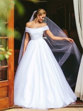 Floor-Length A-Line Button Off-The-Shoulder Hall Wedding Dress