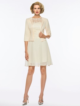 Ericdress A Line Chiffon Knee Length Mother of the Bride Dress