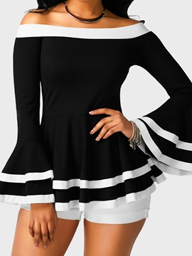 Ericdress Slash Neck Ruffles Flare Sleeve Blouse