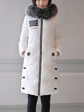 Ericdress Zipper Mid-Length Feather Hooded Coat