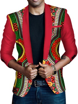 Ericdress Ethnic Style African Print Unique Slim Men's Blazer