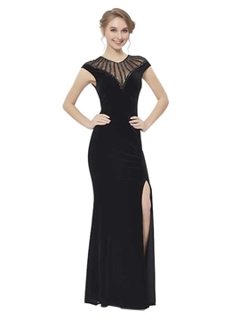 Ericdress Sheath Cap Sleeves Velvet Evening Dress With Beadings
