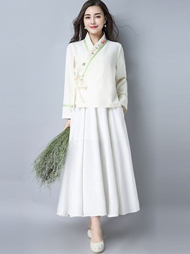 Ericdress Cotton Lace-Up Jacket and Expansion Ankle-Length Skirt Women's Suit