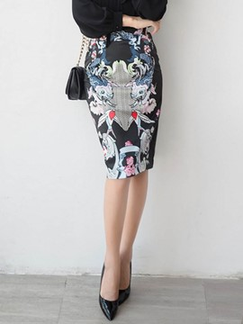 Ericdress Bodycon High-Waist Print Women's Skirt