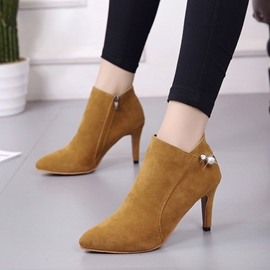 Ericdress Beads Decorated Pointed Toe Plain High Heel Boots