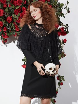 Ericdress Halloween Long Sleeves Lace Patchwork Women's Dress