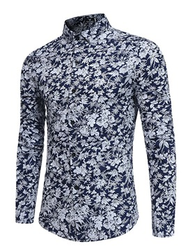 Ericdress Floral Print Single-Breasted Vogue Slim Men's Shirt
